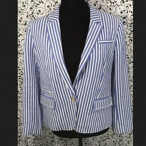 Loft Light Blue And White Stripe Blazer